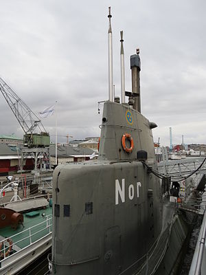 Maritiman - Swedish submarine HMS Nordkaparen (Nor) at the Martitime Museum in Gothenburg