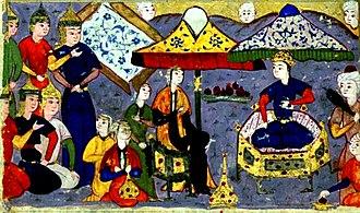 Barda, Azerbaijan - Alexander the Great in Nushabah-s Pavilion in Barda. Nizami Ganjavi
