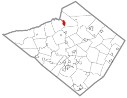 Location of Hamburg in Berks County, Pennsylvania.