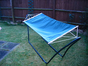 A self supporting Hammock in a backyard.