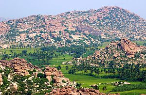 Hampi (town) - Image: Hampi Paddy fields and Boulders
