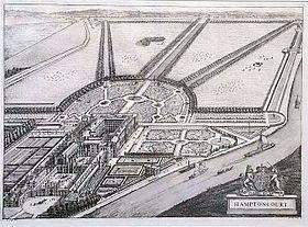 Hampton Court em 1708, numa vista aérea da Britannia Illustrata de Jan Kip e Leonard Knyff