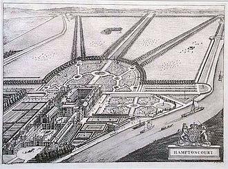 Leonard Knijff - Hampton Court, from Kip and Knyff's Britannia illustrata, 1708