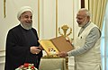 Hassan Rouhani gifted an animated version of Kalila Wa Demna (Farsi translation of the Panchtantra) and a copy of the Mahabharat in Farsi to the Prime Minister, Shri Narendra Modi, at Hyderabad House, in New Delhi.jpg