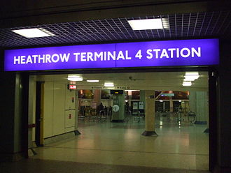 Heathrow Terminal 4 tube station - Entrance from terminal