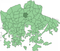 Position of Pukinmäki within Helsinki