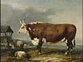 Hereford Bull with Sheep by a Haystack by James Ward.jpg