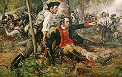 Continental General Herkimer is wounded at the American defeat at the Battle of Oriskany.