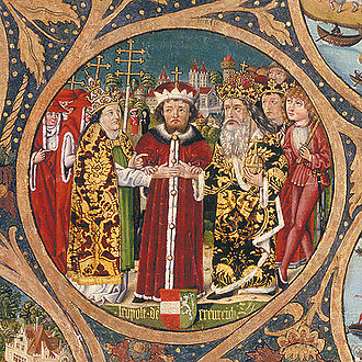 Leopold VI, Duke of Austria - Leopold the Glorious as mediator for Pope and Emperor, Babenberger Stammbaum, Klosterneuburg Monastery, 1489–1492