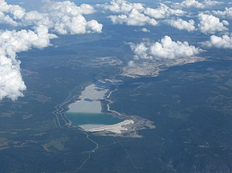 Highland Valley Copper mine - The mine and its tailings pond from the northwest