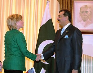 Yousaf Raza Gillani - Gillani shaking hands with Secretary of State Hillary Clinton.