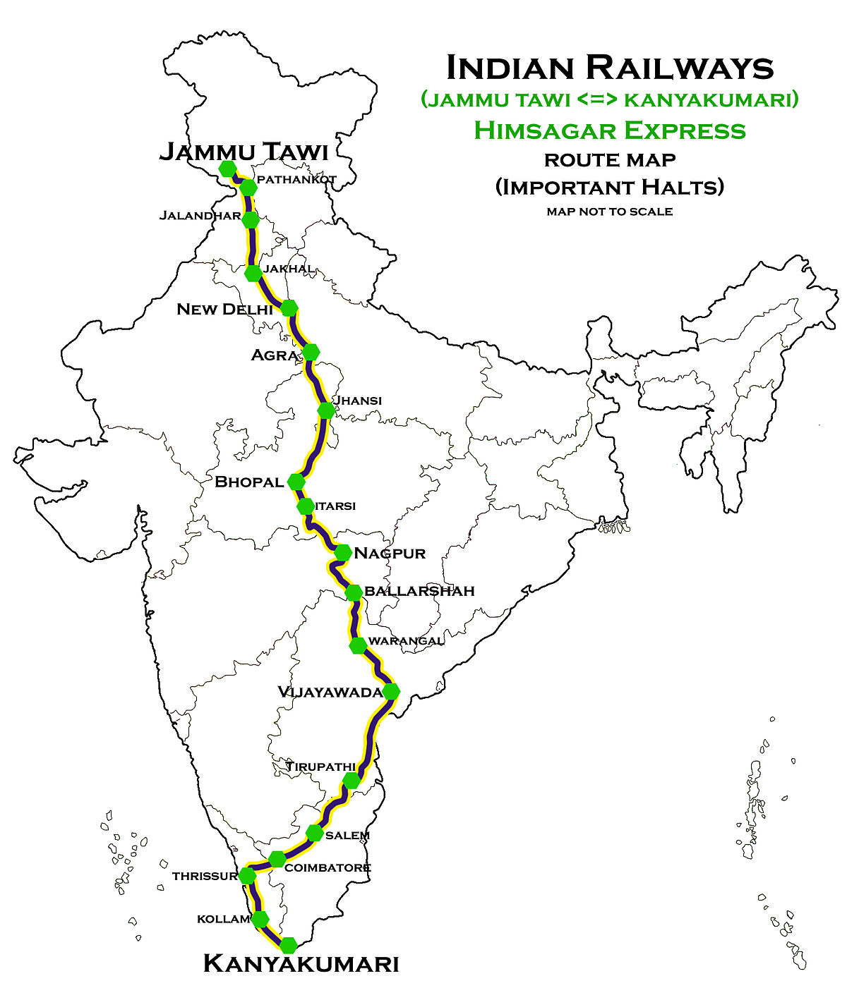 route map of train Himsagar Express Wikipedia route map of train