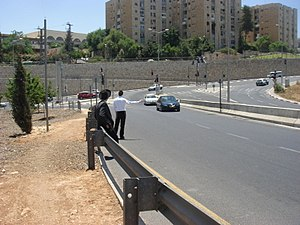 Hitchhiking - Orthodox Jews tremping in Jerusalem