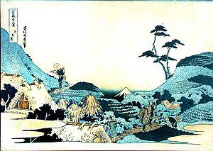 Meguro - Hokusai ukiyo-e of a view of Mount Fuji from Shimomeguro