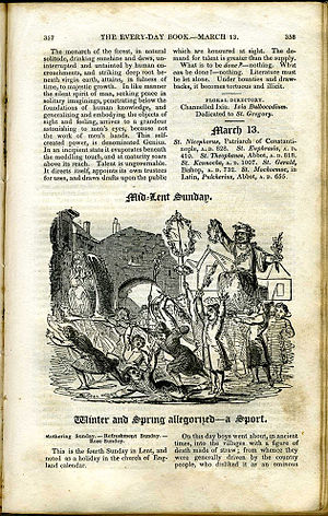 William Hone - Every Day Book, typical page format, content and illustration. (1830 printing).
