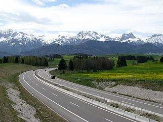 Bundesautobahn 7 - The expressway near Füssen