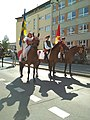 Horses with riders at start of Moravian harvest festival parade.jpg