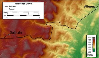 Horseshoe Curve (Pennsylvania) - Topographic map of the area around the Horseshoe Curve