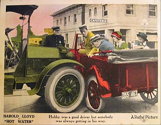 Charles Stevenson (actor) - Lobby card for Hot Water (1924), Stevenson in back seat of automobile