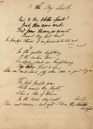 "To a Skylark - First page of the original manuscript to ""To a Skylark"""