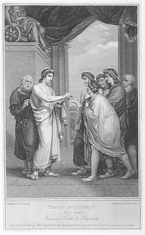 Henry Howard (artist) - Timon of Athens: Act I, Scene 2: Timon's prodigality; engraved by R. Rhodes after a painting by Henry Howard (1802), for John Boydell's Shakespeare edition