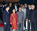 Hu Jintao and his wife Mrs. Liu Yongqing being received by the Union Minister of External Affairs, Shri Pranab Mukherjee and the Union Minister for Science & Technology and Earth Sciences.jpg