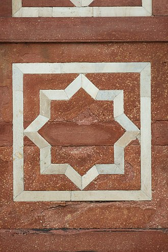Rub el Hizb - Star at Humayun's Tomb, Mughal monument in Delhi, India, completed in 1572 AD.