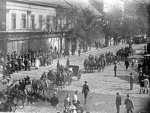 Revolutions and interventions in Hungary (1918–20) - Romanian artillery marching through Budapest