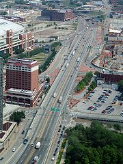 I-70 in downtown St. Louis, photo taken from the Gateway Arch.