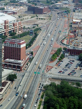 Interstate 70 - I-70 passing the Edward Jones Dome (upper left) in downtown St. Louis, photo taken from the Gateway Arch
