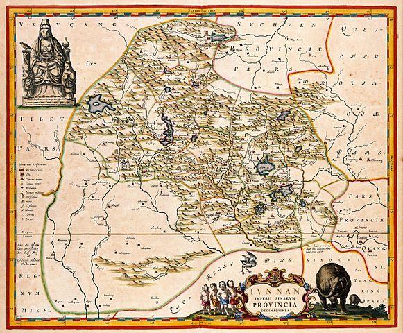 Karte der chinesischen Provinz Yunnan von Martino Martini S.J., 1655.