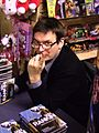 Ian Rankin signing Dark Entries in Forbidden Planet Edinburgh 06.jpg