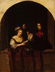 Laulava nainen ja kitaraa soittava herra, kopio Caspar Netscherin mukaan
