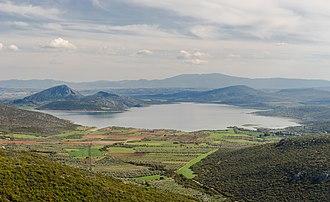 Lake Yliki - partial view of Lake Yliki, north of Thiva, Greece.