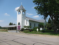 Immaculate Conception Catholic Church (North Lewisburg, Ohio) - exterior, front quarter view.JPG