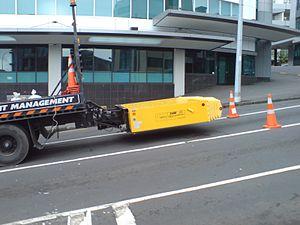 Impact attenuator - A Truck-Mounted Attenuator (TMA) in Auckland.