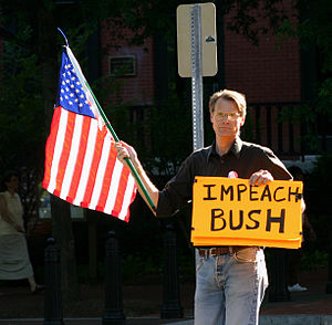 Efforts to impeach George W. Bush - A man calling for the impeachment of Bush in June 16, 2005.