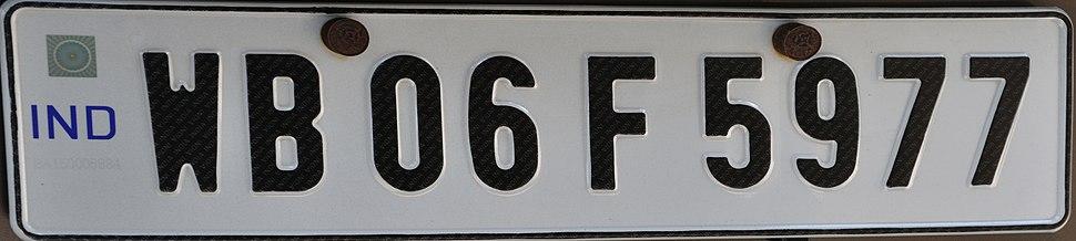 Indian Vehicle Registration Plate - Kolkata 2011-07-29 4088 (cropped)