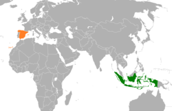 Map indicating locations of Indonesia and Spain