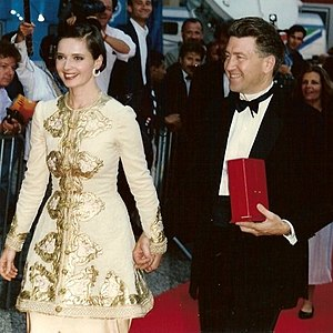 Isabella Rossellini - Rossellini with David Lynch at the Cannes Film Festival (1990)