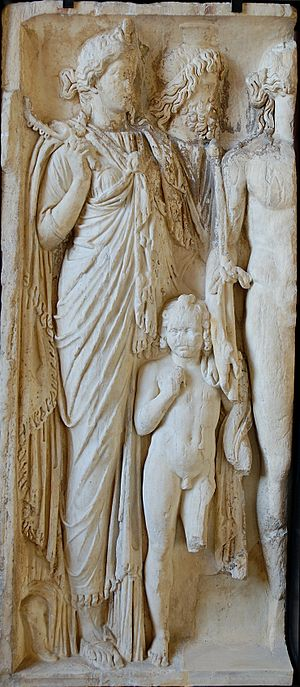 Harpocrates - Isis, Serapis and their child Harpocrates (Louvre)