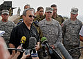 Israeli Deputy Prime Minister and Minister of Defense Ehud Barak, left foreground, gives a statement to reporters during a site visit to a ballistic missile defense position near Jerusalem 121023-F-OT114-005.jpg