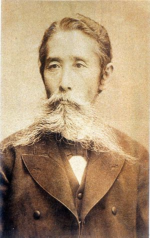 Count Itagaki Taisuke is credited as being the first Japanese party leader and an important force for liberalism in Meiji Japan. Itagaki Taisuke.jpg