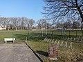 Jüterbog Sportplatz am Rohrteich mit Gedenkstein DDR-Wende.JPG