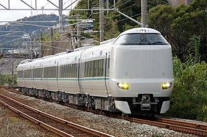 287 series - 6-car Kuroshio-liveried set undergoing test-running in October 2011