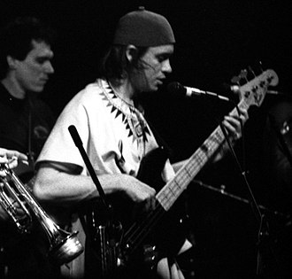 Jaco Pastorius - Pastorius in New York City with Jorma Kaukonen behind him, left, March 1986