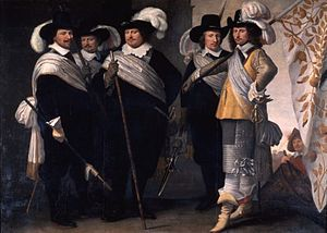 Jacob Willemsz Delff the Younger - 1648 Schutterstuk - from left to right: lieutenant Maerten Engelbertsz. Graswinckel; sergeant Samuel Claesz. Berckel; captain Carel Leenertsz. de Vooght; sergeant Willem Claesz. van Assendelft; flag bearer Pieter Harmensz. van Ruyven.