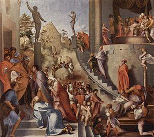 Pontormo - Joseph in Egypt, 1515-18; Oil on wood; 96 x 109 cm; National Gallery, London.