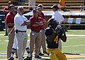 Jahvid Best warms up in front of Wazzu coaches.jpg