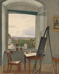 Jakob Alt - View from the Artist's Studio in Alservorstadt toward Dornbach, 1836 - Google Art Project.jpg